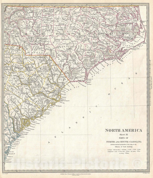 Historic Map : North Carolina and South Carolina, S.D.U.K., 1833 v1, Vintage Wall Art