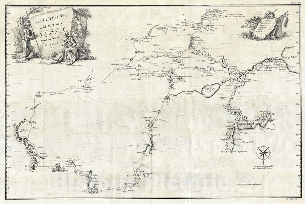 Historic Map : Northern Syria, Drummond, 1754, Vintage Wall Art