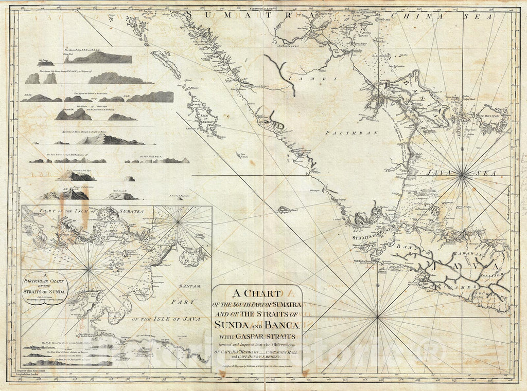 Historic Map : Nautical Chart The SouThern Sumata, Indonesia, Laurie and Whittle, 1794, Vintage Wall Art