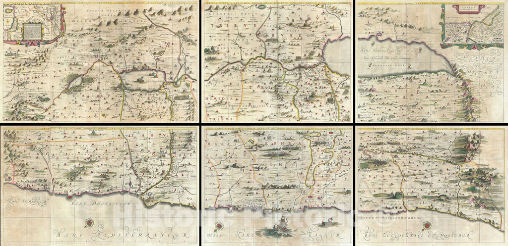 Historic Map : The Holy Land, Israel, and Palestine, Jansson and Hornius, 1662, Vintage Wall Art