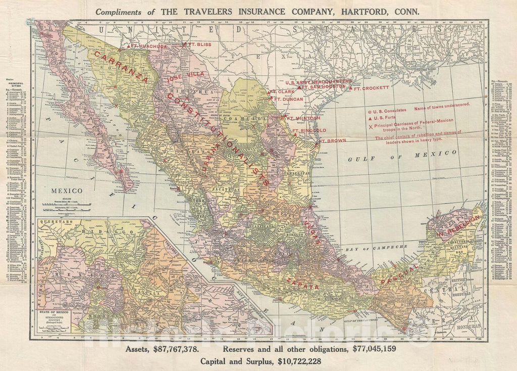 Historic Map : The Mexican Revolution, Rand, McNally, 1913, Vintage Wall Art