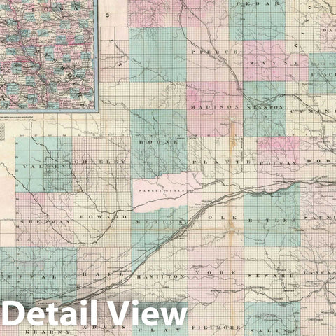 Historic Map : The State of Nebraska, Colton, 1871, Vintage Wall Art