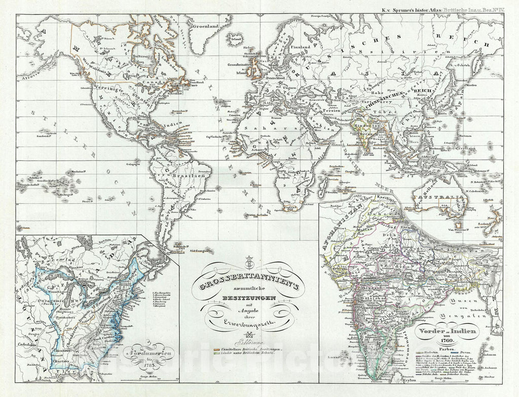 Historic Map : The World showing The British Empire, Spruner, 1854, Vintage Wall Art