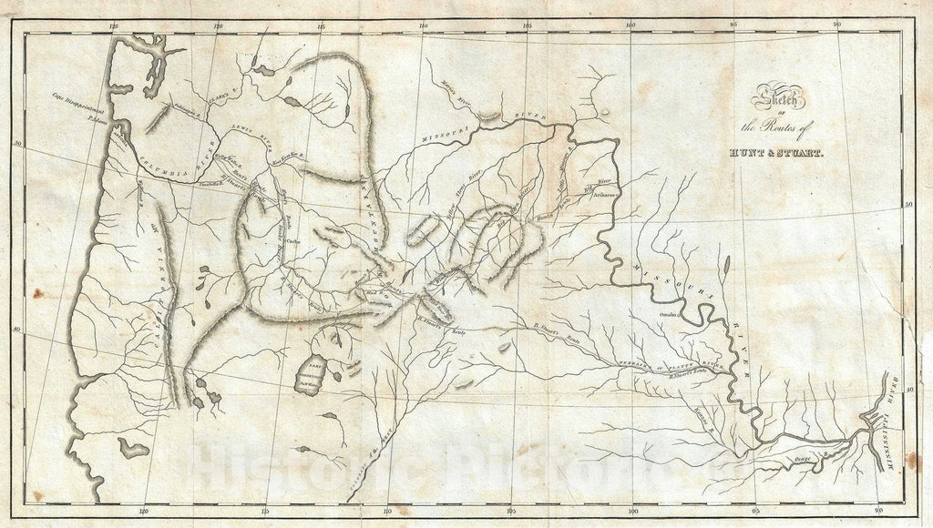 Historic Map : The Pacific Northwest w/ Routes of Hunt and Stuart, Washington Irving, 1836, Vintage Wall Art