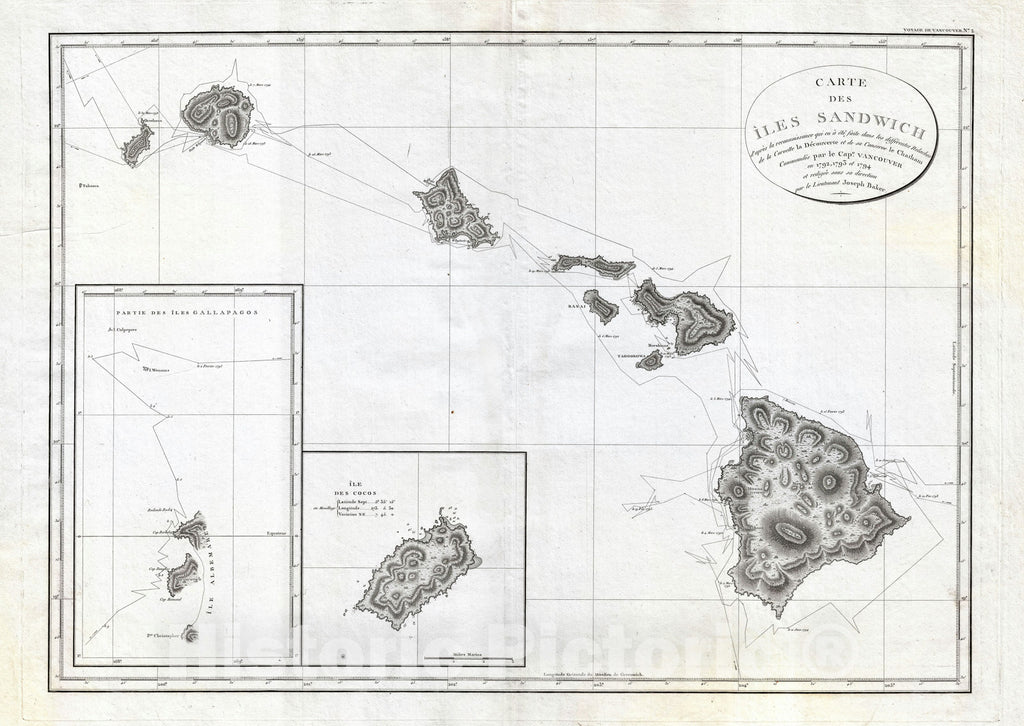 Historic Map : Hawaii, Vancouver, 1799, Vintage Wall Art
