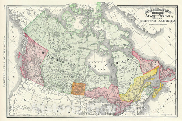 Historic Map : Canada or British America, Rand McNally, 1893 v2, Vintage Wall Art