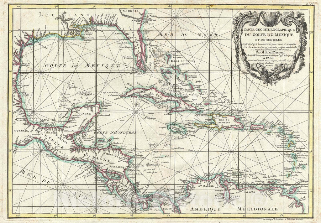 "Historic Map : Central America and The West Indies "" Caribbean "", Zannoni, 1762, Vintage Wall Art"