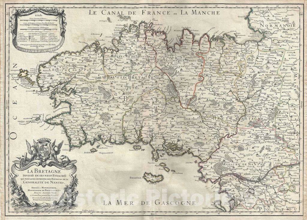 Historic Map : Brittany, France, Jaillot, 1706, Vintage Wall Art