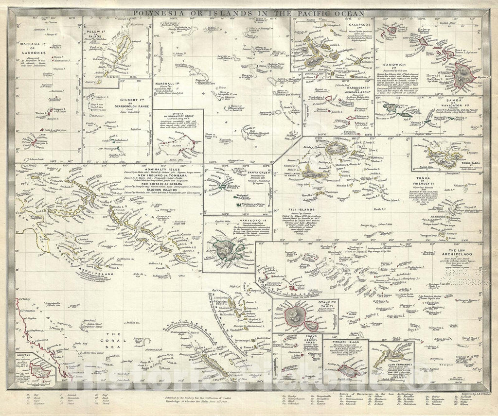 Historic Map : Polynesia or The Islands in The Pacific Ocean, S.D.U.K., 1840, Vintage Wall Art