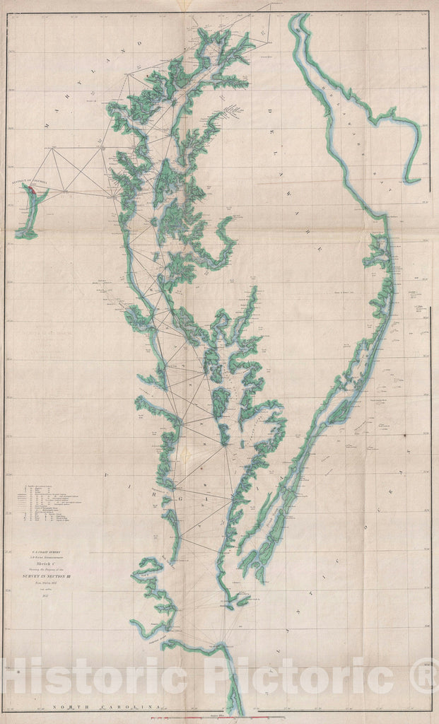 Historic Map : The Chesapeake Bay and Delaware Bay, U.S. Coast Survey, 1851, Vintage Wall Art