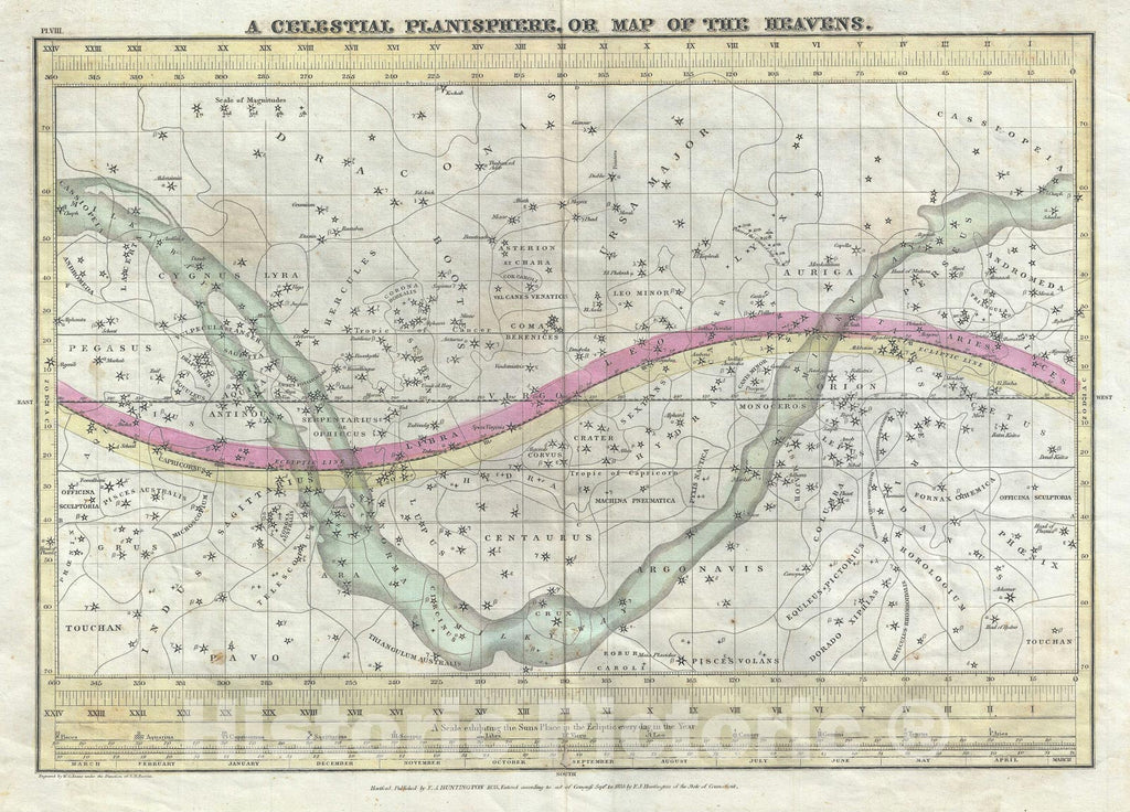 Historic Map : The Heavens or A Celestial Planisphere, Burritt - Huntington, 1835, Vintage Wall Art