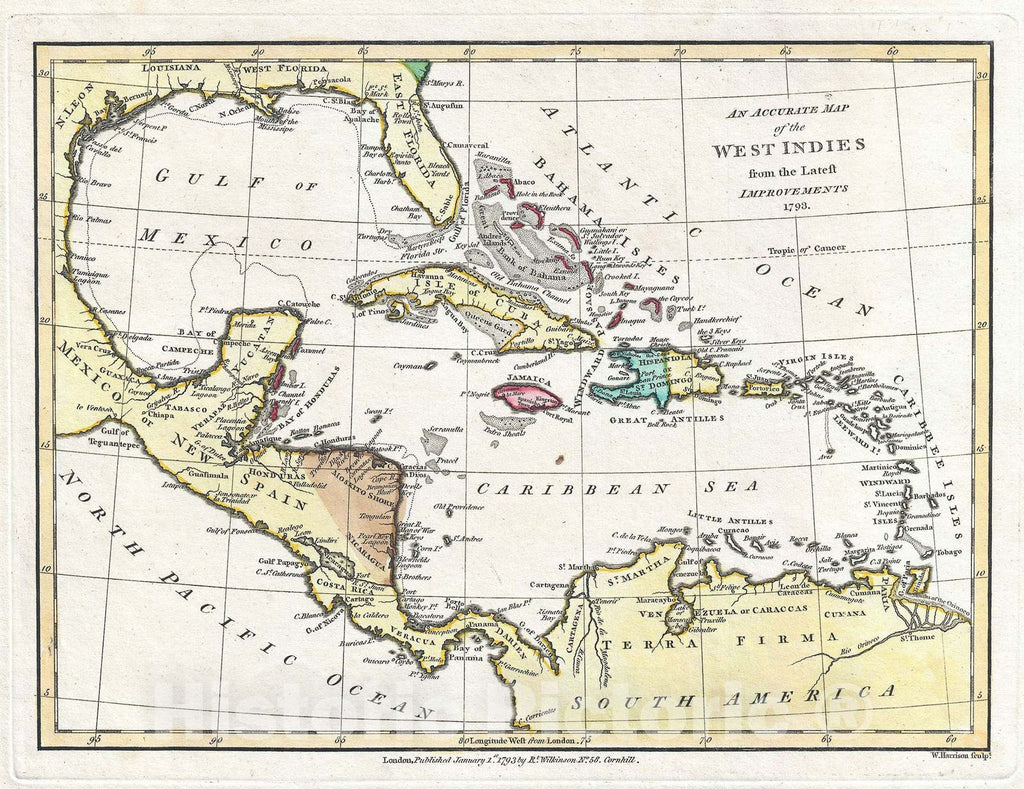 Historic Map : The West Indies and Caribbean, Wilkinson, 1792, Vintage Wall Art