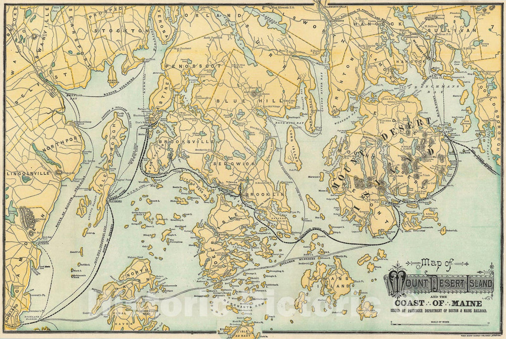 Historic Map : Mount Desert Island and The Coast of Maine, Rand Avery, 1902, Vintage Wall Art
