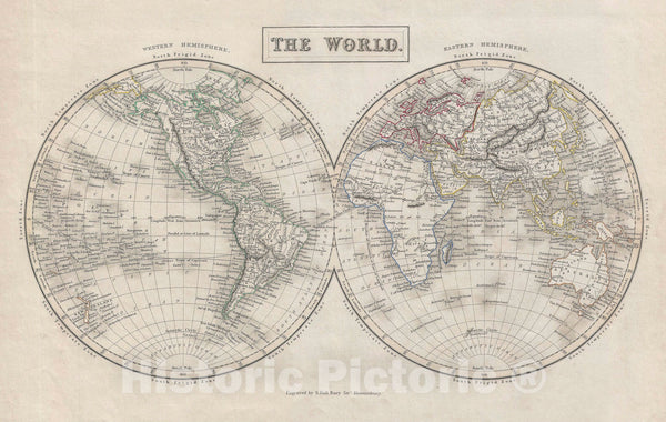 Historic Map : The World in Two Hemispheres, Black, 1840, Vintage Wall Art