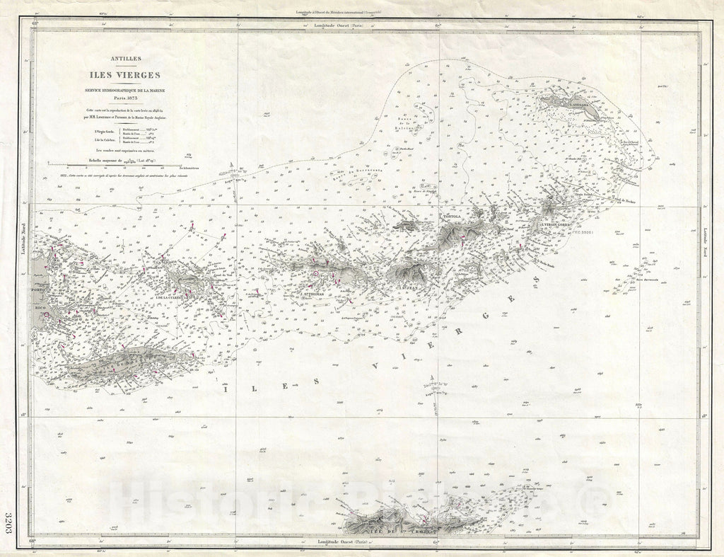 Historic Map : Nautical Chart The Virgin Islands, French Hydrographique, 1932, Vintage Wall Art