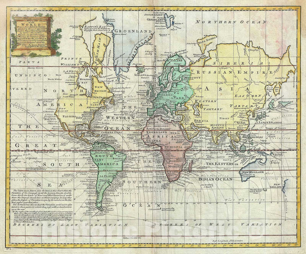 "Historic Map : The World on Mercator Projection ""Sea of Korea identified"", Bowen, 1747, Vintage Wall Art"