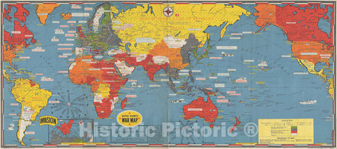 Historic Map : During World War II, Turner World, 1944, Vintage Wall Art