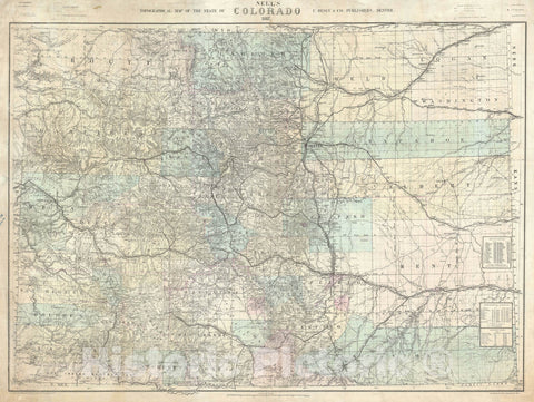 Historic Map : The State of Colorado - first edition!, Nell's, 1887, Vintage Wall Art