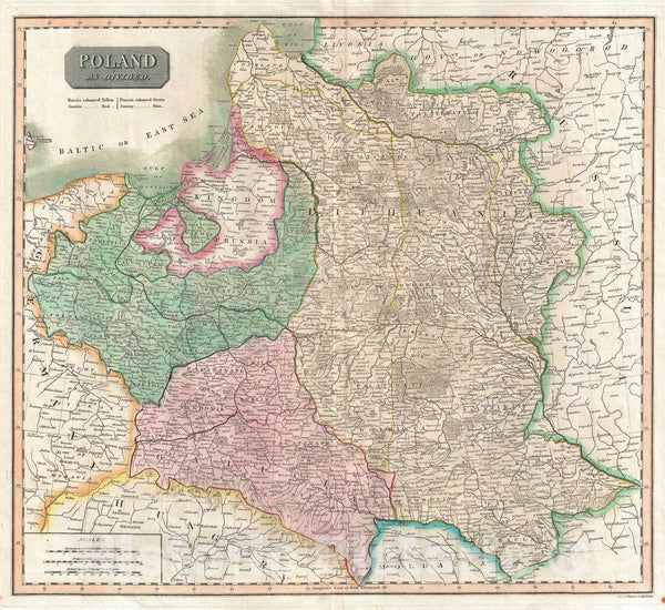 Historic Map : Poland, Thomson, 1817, Vintage Wall Art