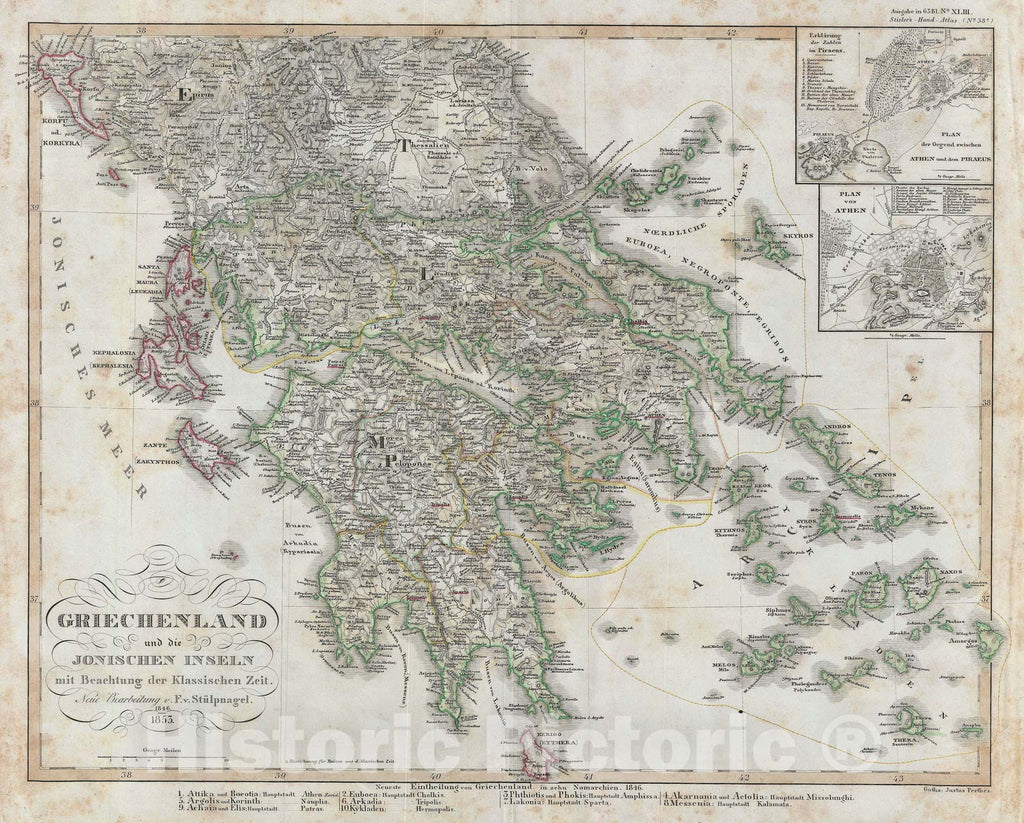 Historic Map : Classical Greece, Perthes, 1853, Vintage Wall Art