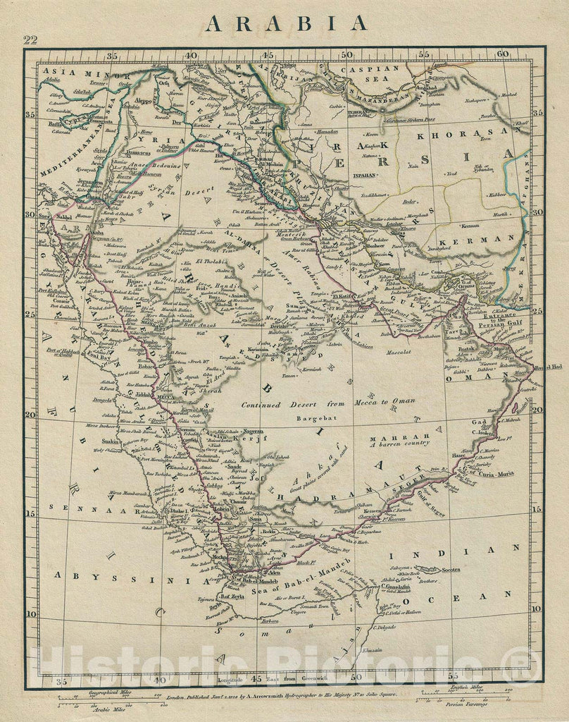 Historic Map : Arabia, Arrowsmith, 1828, Vintage Wall Art