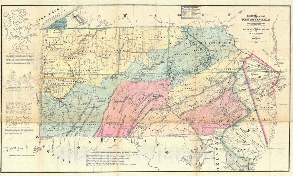 Historic Map : Pennsylvania, Sheafer, 1875, Vintage Wall Art