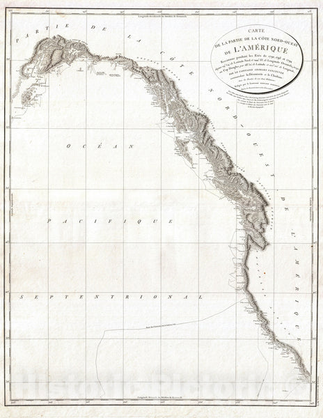 Historic Map : The West Coast of North America - California, Vancouver, Alaska, Vancouver, 1799, Vintage Wall Art