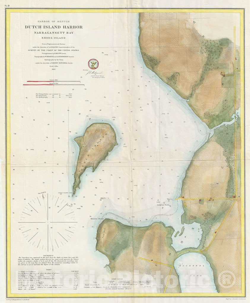 Historic Map : Dutch Island Harbor, Narragansett Bay, Rhode Island, U.S. Coast Survey, 1862, Vintage Wall Art
