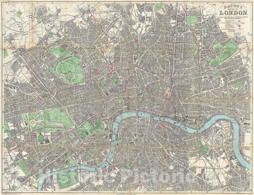 Historic Map : London, England, Bacon, 1876, Vintage Wall Art