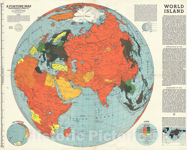 Historic Map : Fortune Magazine Persuasive Map of The World during World War II, 1943, Vintage Wall Art