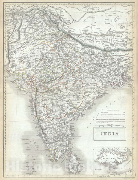 Historic Map : India and Singapore, Black, 1844, Vintage Wall Art