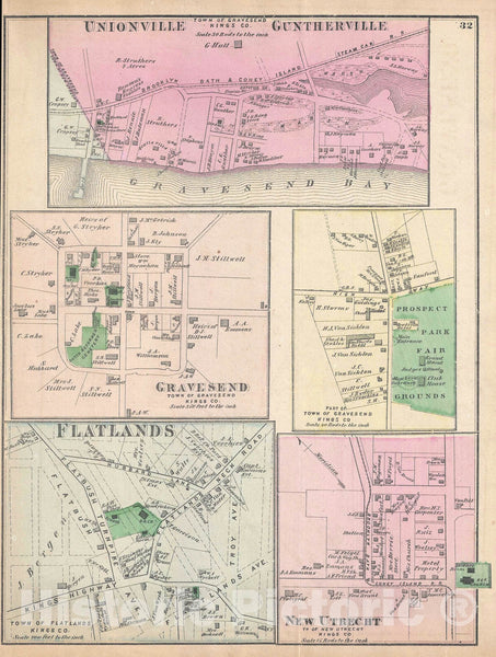 Historic Map : Gravesend, Flatlands, and New Utrecht, Brooklyn, New York, Beers, 1873, Vintage Wall Art