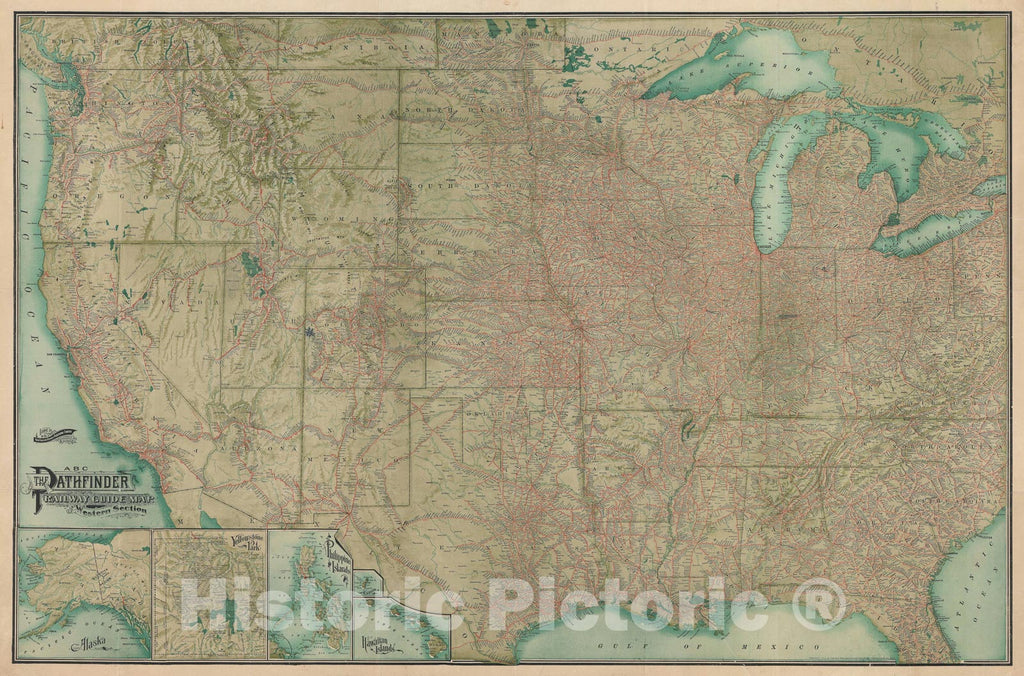 Historic Map : Railway Publishing Pathfinder Railroad Map of The Western United States, 1902, Vintage Wall Art