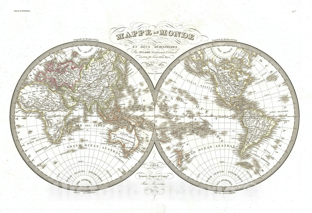 Historic Map : The World in Hemispheres, Lapie, 1831, Vintage Wall Art