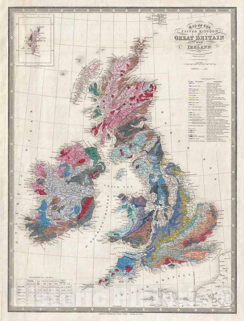 "Historic Map : Great Britian ""England, Ireland, Scotland"", Wyld Geological, 1849, Vintage Wall Art"