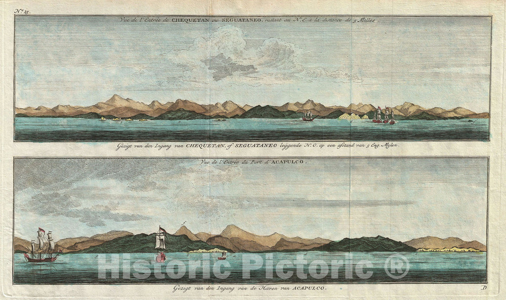 Historic Map : View of Acapulco and Zihuatanejo, Mexico, Anson , 1765, Vintage Wall Art