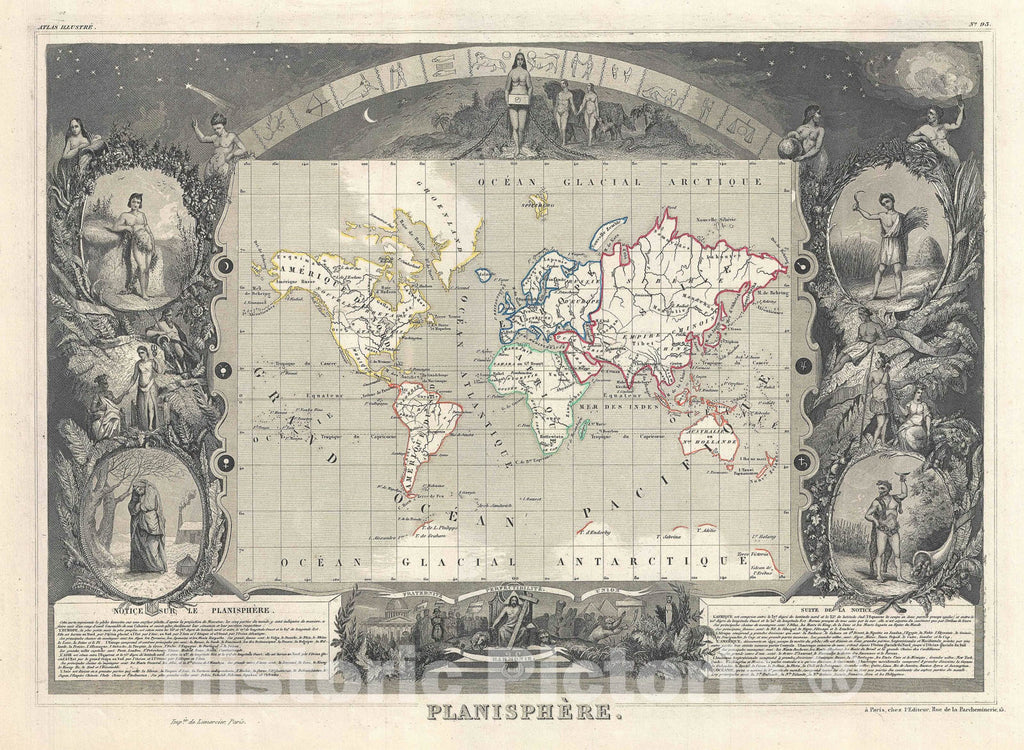 Historic Map : The World, Levasseur, 1852, Vintage Wall Art