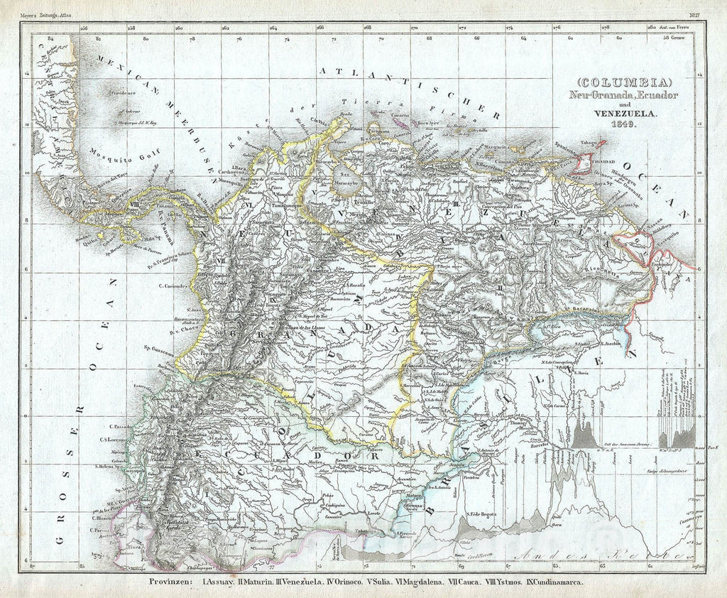 "Historic Map : Venezuela, Ecuador and Colombia ""New Granada"", Meyer, 1849, Vintage Wall Art"