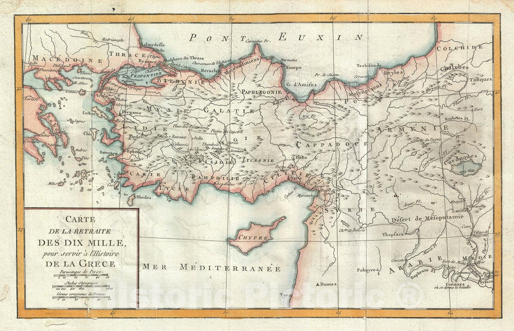 Historic Map : The Retreat of The Ten Thousand Greeks, Delisle de Sales, 1770, Vintage Wall Art