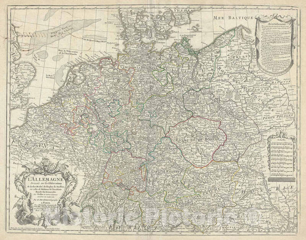 Historic Map : Germany, Austria, Switzerland, Bohemia and The United Provinces, De L'isle, 1780, Vintage Wall Art