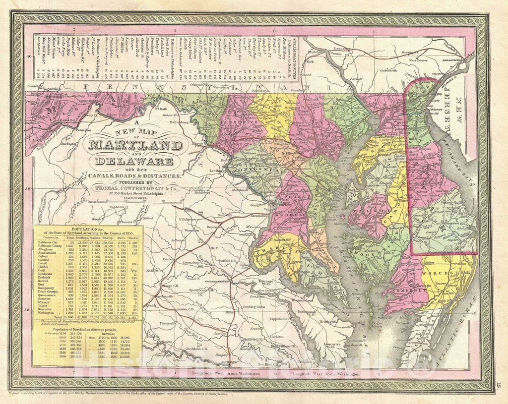 Historic Map : Maryland and Delaware, Mitchell, 1854, Vintage Wall Art