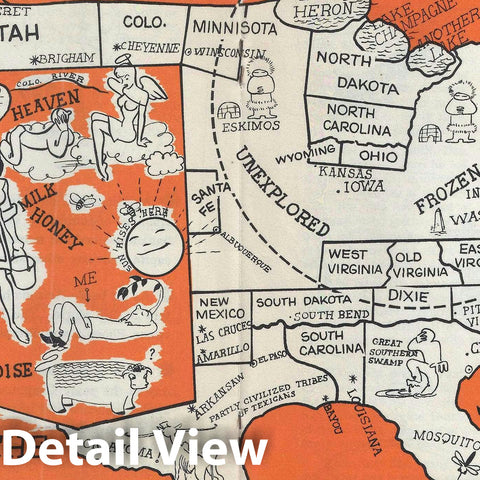 Historic Map : The United States as Arizonans See It, Arnold, 1947, Vintage Wall Art