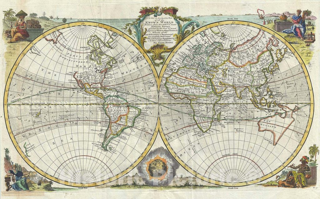 Historic Map : The World in Hemispheres includes the Sea of Korea, Bowen, 1747 v2, Vintage Wall Art