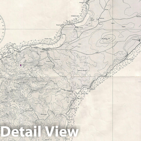 "Historic Map : World War II ""WWII"" U.S. Navy Map of Guam, 1945, Vintage Wall Art"