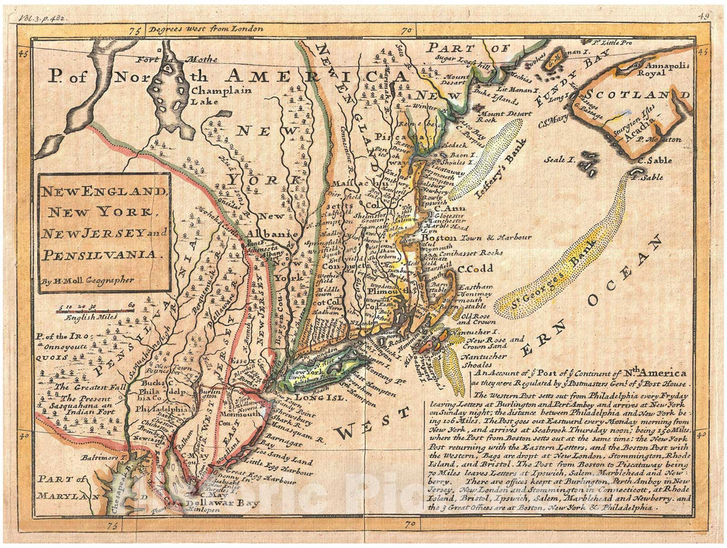 Historic Map : Moll Map of New York, New England, and Pennsylvania (First Postal Map of New England), 1729, Vintage Wall Art