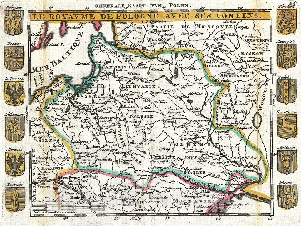 Historic Map : La Feuille Map of Poland, 1747, Vintage Wall Art