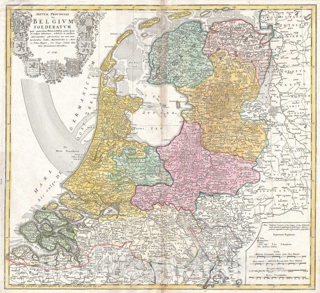 Historic Map : Homann Heirs Map of Holland (Netherlands) , 1748, Vintage Wall Art