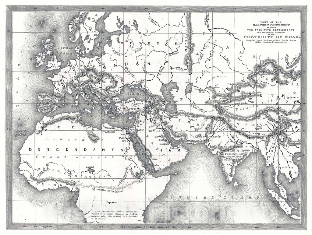 Historic Map : s Map of The World of The Biblical Noah, 1850, Vintage Wall Art