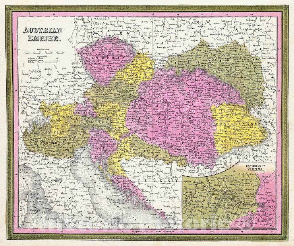 Historic Map : Mitchell Map of Austria, Hungary and Transylvania , 1850, Vintage Wall Art