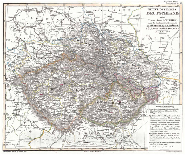 Historic Map : Perthes Map of Bohemia (Czech Republic), 1850, Vintage Wall Art